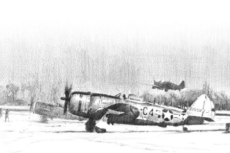 P-47 D Ardennes aviation art perinotto
