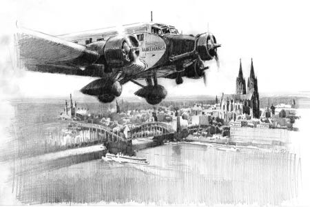 Ju 52 Cologne aviation art perinotto